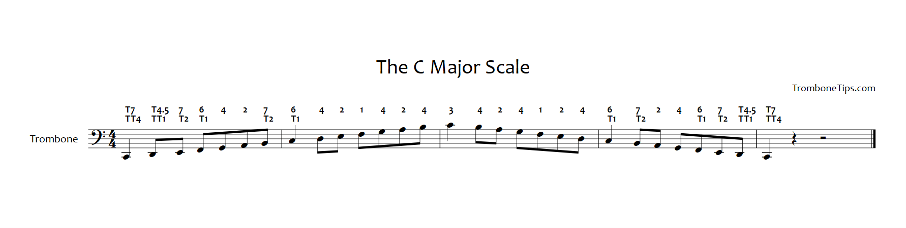 how to play the c major scale on trombone trombone tips